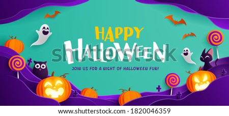 Paper Graphic of Happy Halloween fun party celebration background design. Halloween elements.