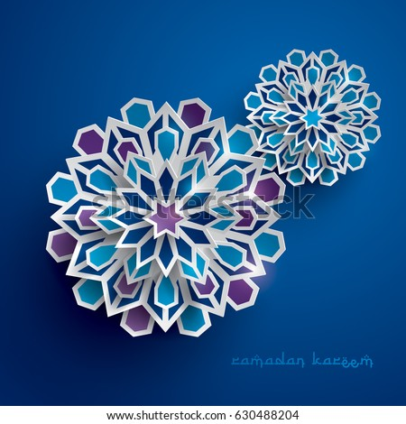 Paper graphic of islamic geometric art. Islamic decoration. Ramadan Kareem is the name of the glorious month of Ramadan. #630488204