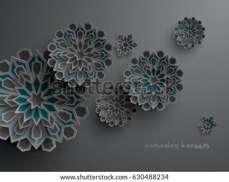 Paper graphic of islamic geometric art. Islamic decoration. Ramadan Kareem is the name of the glorious month of Ramadan. #630488234