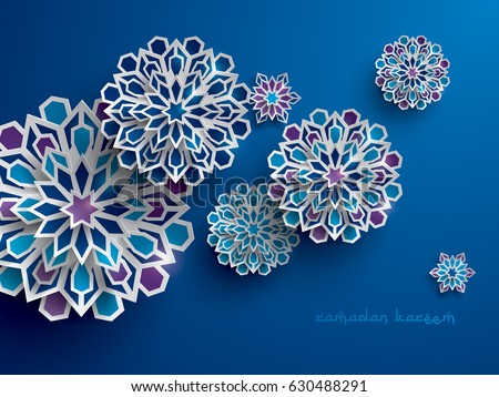 Paper graphic of islamic geometric art. Islamic decoration. Ramadan Kareem is the name of the glorious month of Ramadan. #630488291