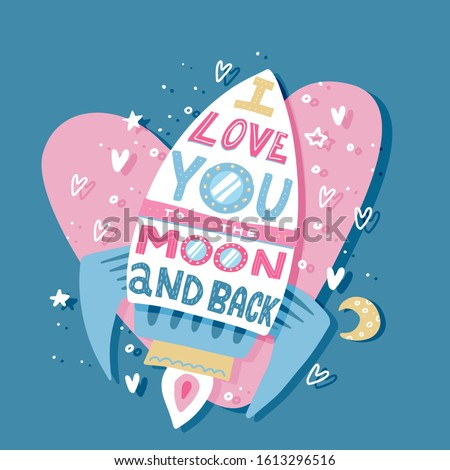 Paper greeting card with colorful love rocket and text: i love you to the moon and back. Paper cut heart for bridal, wedding, engagement, Valentines day. Vector art in 3d papercut style