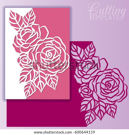 Paper greeting card with lace border, pattern of roses. Cut out template for cutting. Suitable for laser cutting.