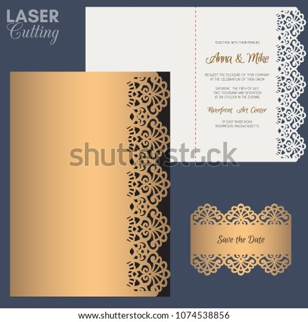 Paper greeting card with lace border. Wedding invitation or greeting card template. Suitable for laser or die cutting.