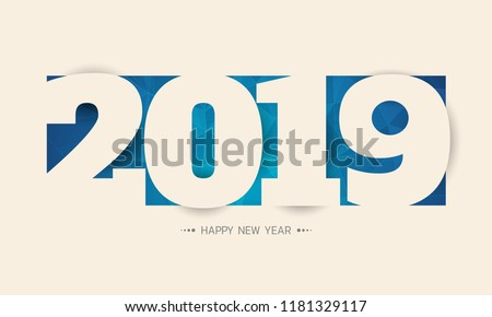 Paper 2019 Greetings card.2019 letter on blue abstract background. Colorful design. Vector illustration.Happy new 2019 year.
