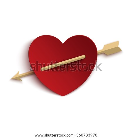 paper heart with arrow isolated