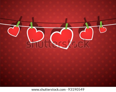 paper hearts hanging from a