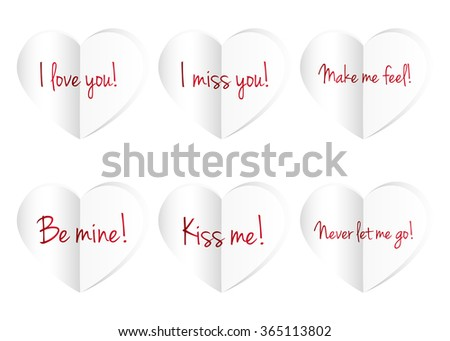 paper hearts isolated on white