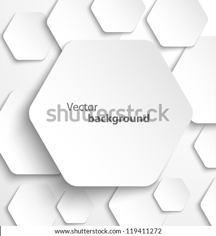 Paper hexagon banner with drop shadows. Vector illustration - stock vector