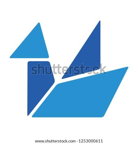Paper homemade origami bird. Craft work for children
