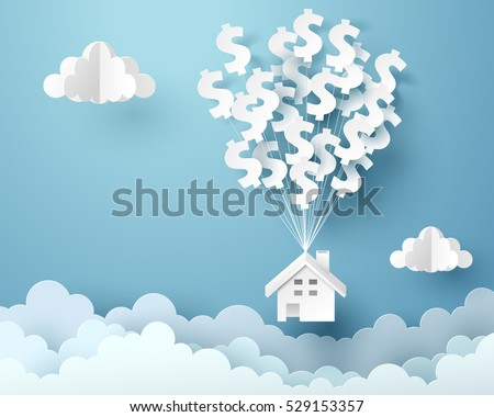 Paper house hanging with dollar sign balloon, business and asset management concept and paper art idea, vector art and illustration.