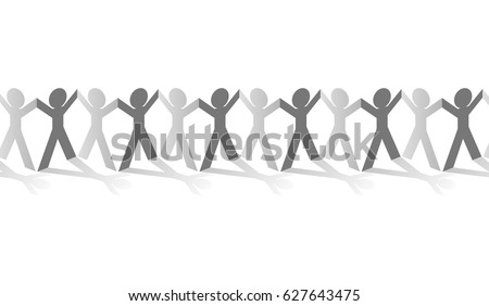 paper human chain figures hand