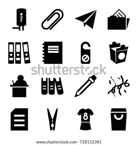 paper icons set set of 16