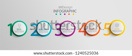 Paper infographic template with 5 circle options for presentation and data visualization. Business process chart.Diagram with Five steps to success.For content,flowchart, workflow.Vector illustration