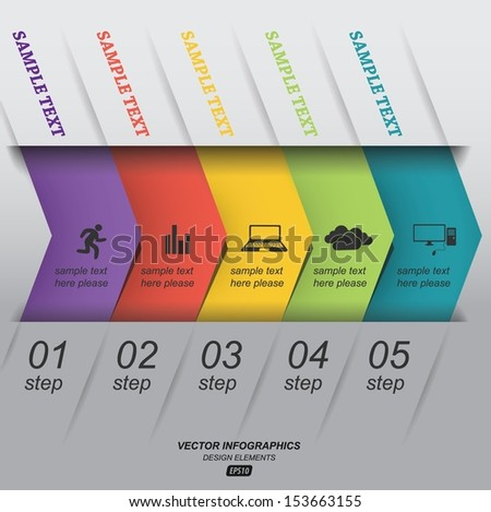 Paper infographics step by step / vector template