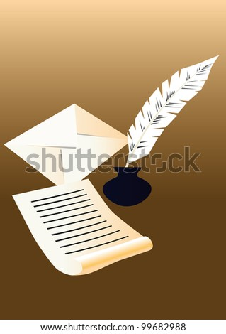 Paper,inkpot,feather and an envelope on the brown background