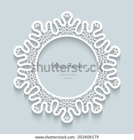 Paper lace background vector round vignette ornamental lacy frame eps10