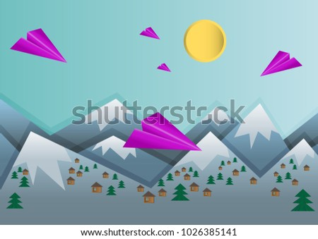 Paper Made Origami Landscape Scene With Bright Pink Planes Mountains Ice On Tops