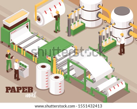 Paper manufacturing automated operator controlled process isometric composition with pulping pressing drying sheet forming machinery vector illustration