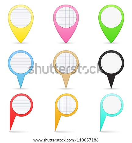 Paper map markers, vector eps10 illustration
