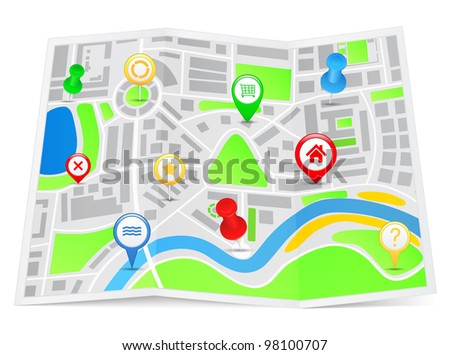 Paper map with pointers, vector eps10 illustration