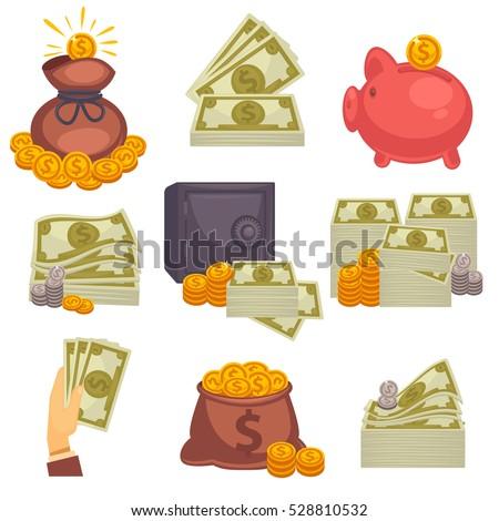 Paper money and money bag. Concept of big money. Vector icon set.