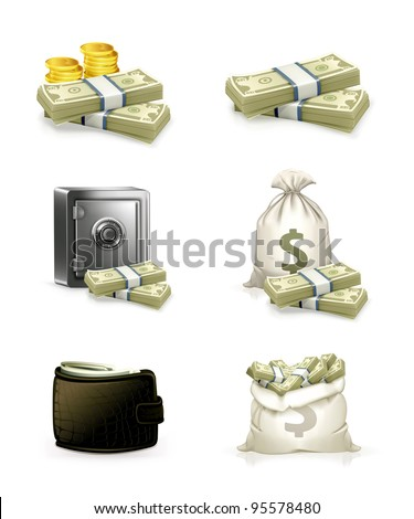 Paper money and money bag. Vector icon set
