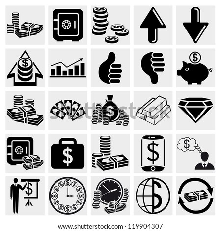 Paper money, Banking, Business, Finance, Management and human resources set. Vector set