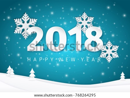 paper new year 2018 text design