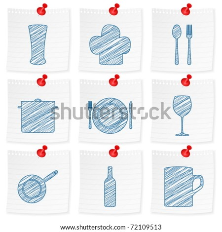 Paper note and drawing kitchenware symbol on a white background. Vector illustration.