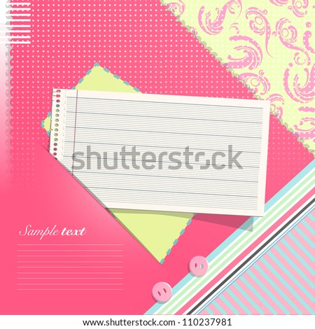 Paper note on beautiful background. Vector design.