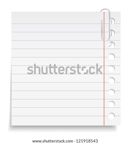Paper note with clip, vector eps10 illustration