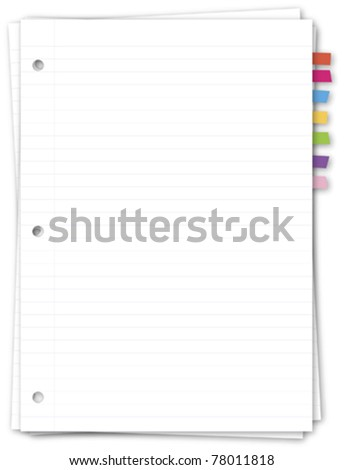 Paper note with color bookmark