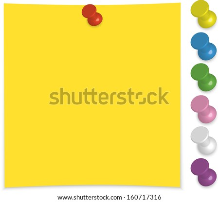 Colorful push pin vectors download free vector art stock paper note with push pin set vector illustration pronofoot35fo Image collections