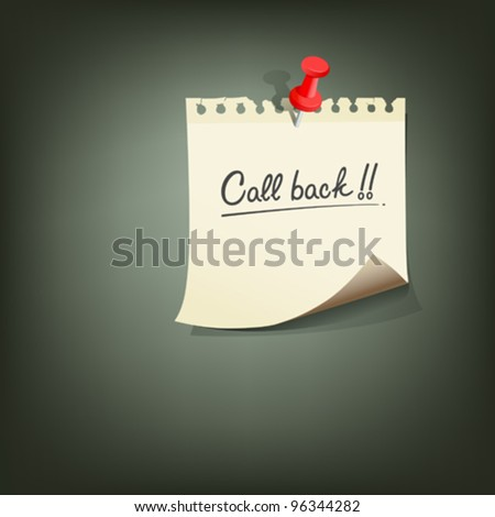 Paper note with text call back red pin vector illustration