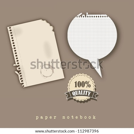 paper notebook with tag and balloons text, vintage style. vector illustration - stock vector
