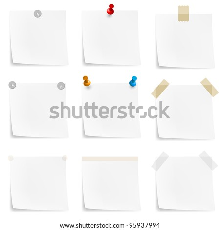 Paper notes and stickers Illustration on white background