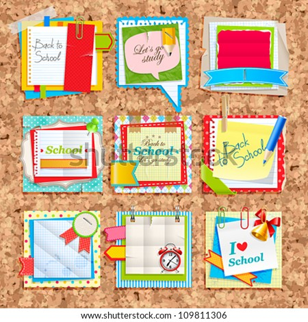 Paper notes on cork board. Scrapbooking elements.