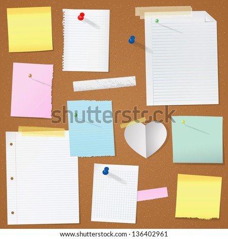 paper notes on cork board vector illustration
