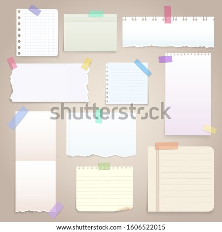 Paper notes on stickers, notepads and memo messages torn paper sheets. Vector blank sticky notepaper posts of meeting reminder, to do list and office notice or information board with appointment notes Stock photo ©