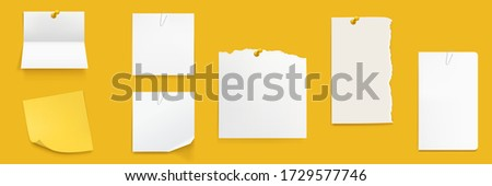Paper notes set, white notebook sheets pinned on wall, blank folded and ragged pages. Memo pads, daily planner, empty sticky notes isolated on yellow background. Realistic 3d vector illustration