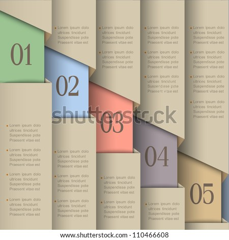 Paper numbered banners. Vector design template