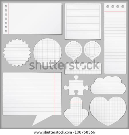 Paper objects set, vector eps10 illustration