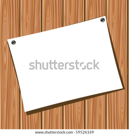 Paper on a wooden wall. Vector