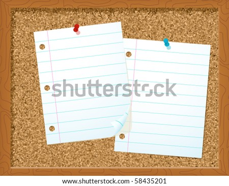 Paper on Corkboard - vector illustration - stock vector