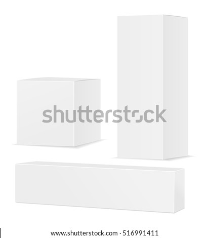 Paper or cardboard boxes isolated on white background. Place for you text. Vector