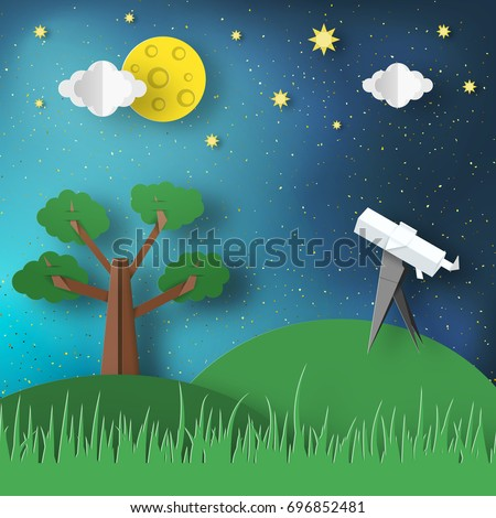 Paper Origami Abstract Concept, Applique Scene with Cut Telescope and Stars. Observation Through a Spyglass. Cosmos Cutout Template with Elements, Symbols for Cards. Vector Illustrations Art Design.