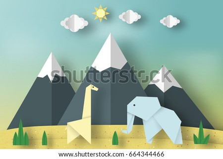 Paper Origami Concept Applique Scene With Cut Giraffe Mountains Elephant Clouds