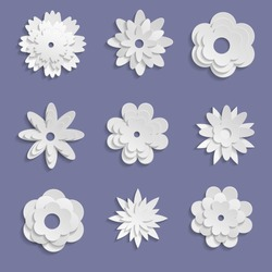 Paper origami flowers on violet  background