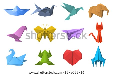Paper origami shapes. Origami polygonal paper folding, pigeon, animals, plane and ship figures. Oriental origami hobby vector illustration set. Origami polygon animal, cat and frog