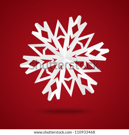 Paper origami snowflake on red background